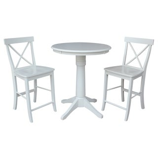 """30"""" Round Pedestal Gathering Height Table With 2 X-Back Counter Height Stools"""