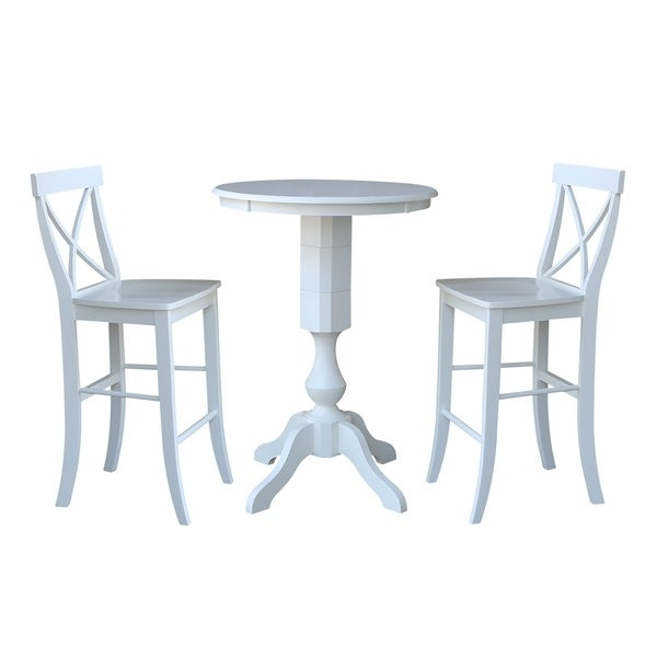 "30"" Round Pedestal Bar Height Table With 2 X-Back Bar Height Stools"