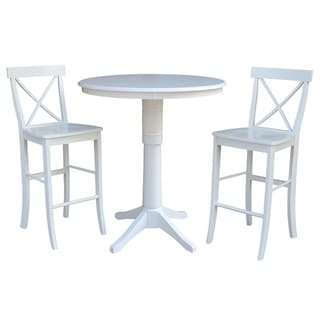 """36"""" Round Pedestal Bar Height Table With 2 X-Back Bar Height Stools"""