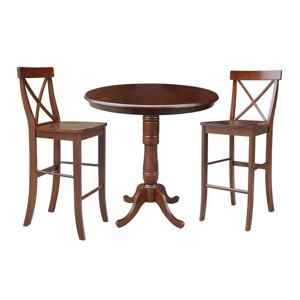 Super Shop 36 Round Pedestal Bar Height Table With 2 X Back Bar Home Interior And Landscaping Ferensignezvosmurscom