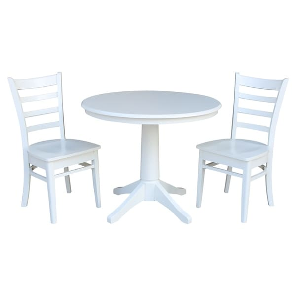"""36"""" Round Top Pedestal Table - With 2 Emily Chairs"""