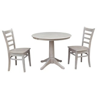 """36"""" Round Extension Dining Table With 2 Emily Chairs"""