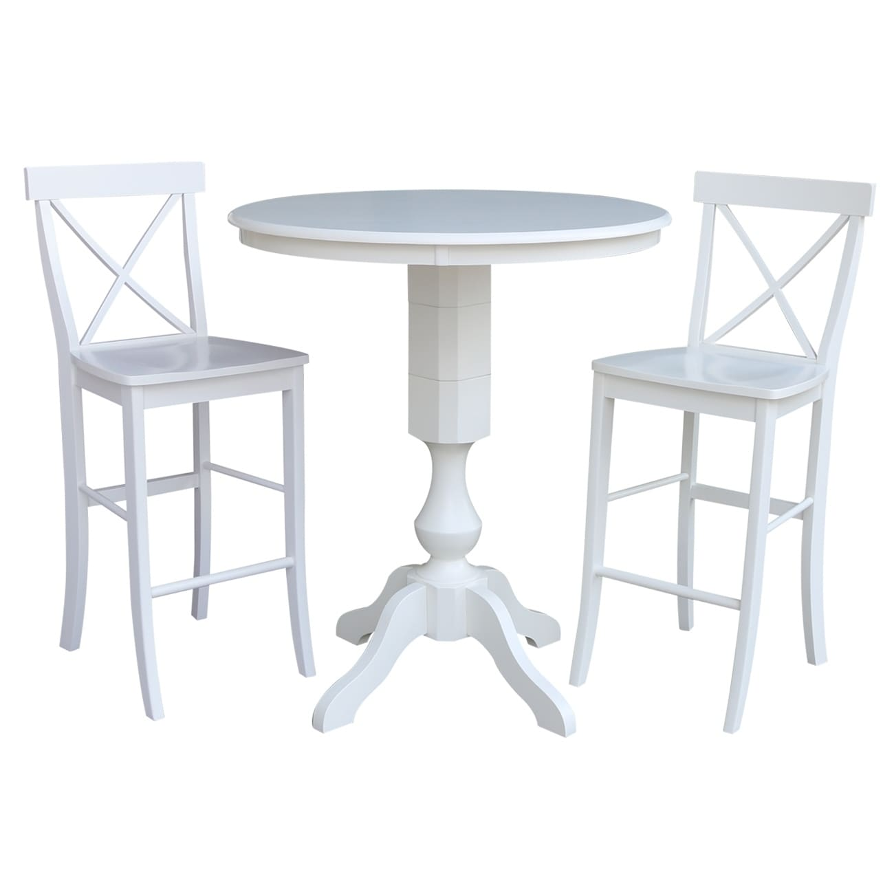 Tremendous 36 Round Pedestal Bar Height Table With 2 X Back Bar Height Stools Pabps2019 Chair Design Images Pabps2019Com