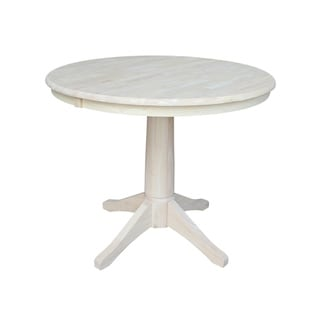 "36"" Round Pedestal Table With 12"" Leaf - Unfinished"