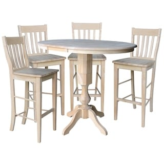 """36"""" Round Extension Dining Table 40.9""""H With 4 Cafe Barheight Stools"""