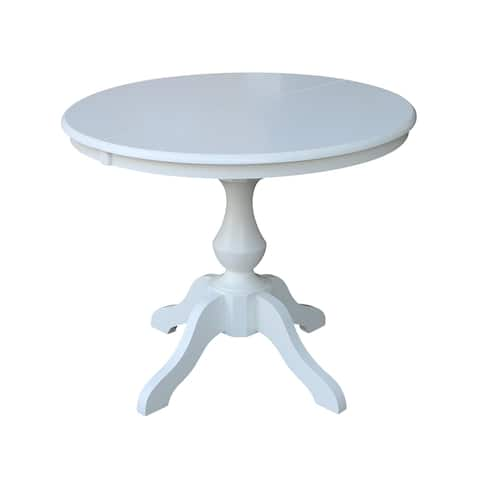 Porch & Den Azores White Round-top Pedestal Table with Leaf