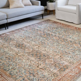 Link to Alexander Home Isabelle Traditional Vintage Border Printed Area Rug Similar Items in Rugs