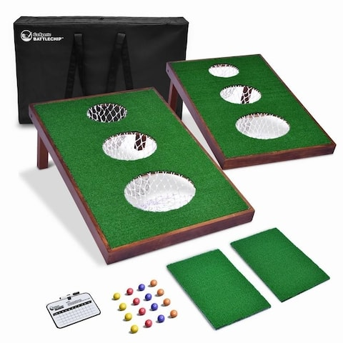 GoSports BattleChip VERSUS Golf Game Includes Two 3' x 2' Targets, 16 Foam Balls, 2 Hitting Mats, Scorecard and Carrying Case