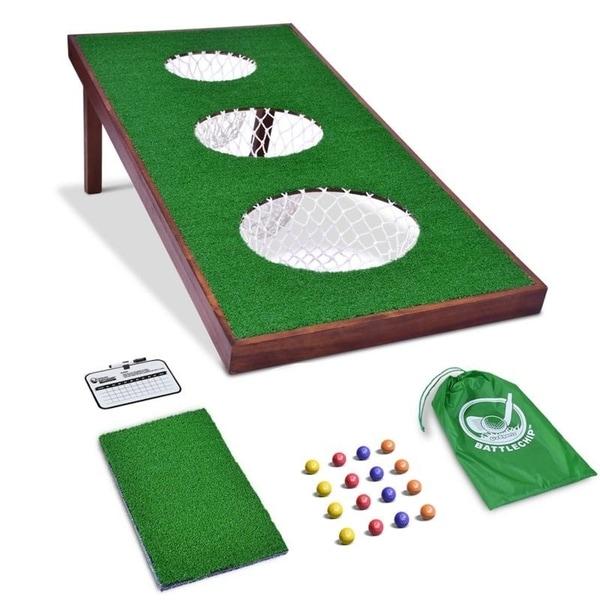 GoSports BattleChip PRO Golf Game | Includes 4' x 2' Target, 16 Foam Balls, Hitting Mat, and Scorecard. Opens flyout.