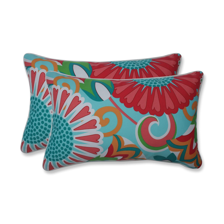 Shop Sophia Turquoise/Coral Rectangular Throw Pillow (Set of 2