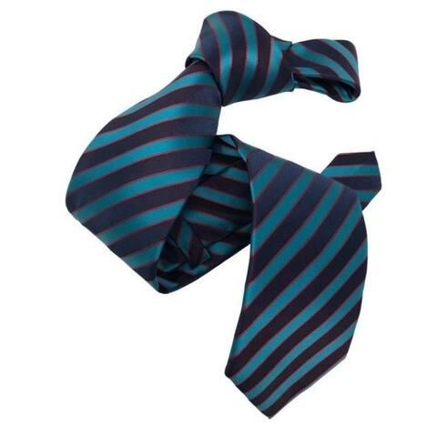 DMITRY Men's Teal Striped Italian Silk Tie