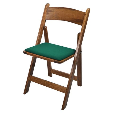 Kestell Oak Folding Chair with Fabric Seat Cushion