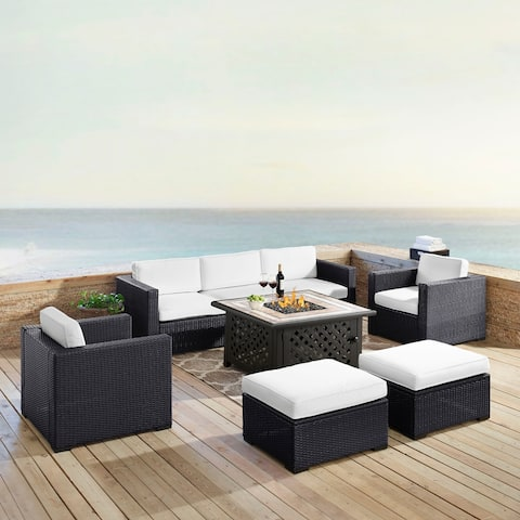 Biscayne 7 Person Outdoor Wicker Seating Set In White