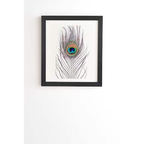 Deny Designs Peacock Feather Framed Wall Art (3 Frame Colors) - Multi-Color