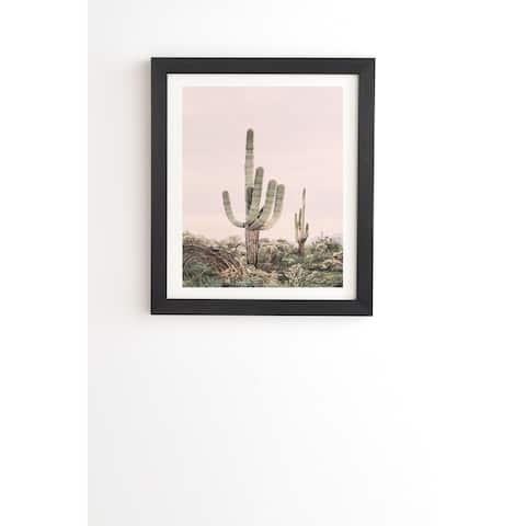Deny Designs Pastel Cactus Framed Wall Art (3 Frame Colors) - Pink