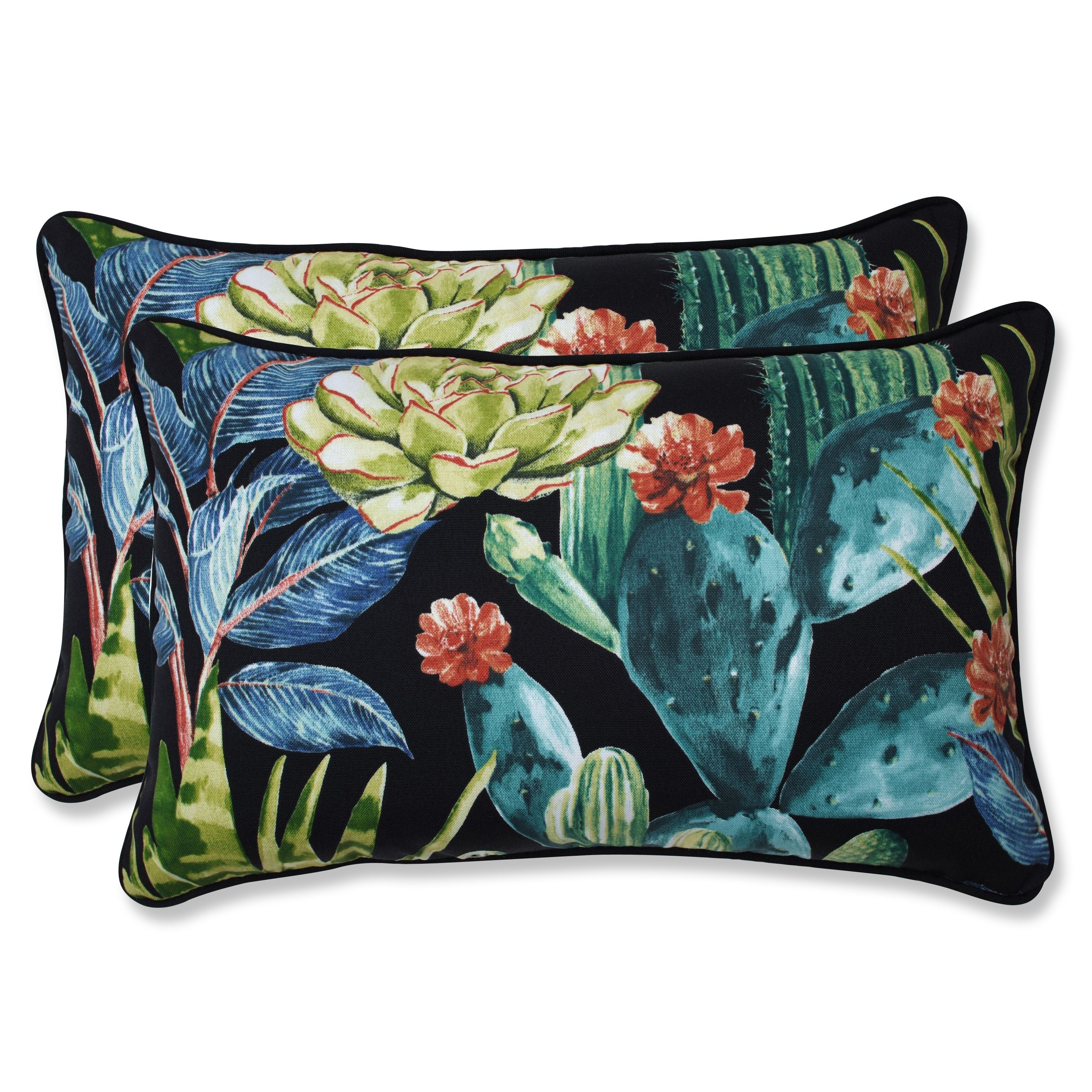 Set of 2 18.5-Inch Lagoon Indoor//Outdoor Pom Pom Play Corded Throw Pillow