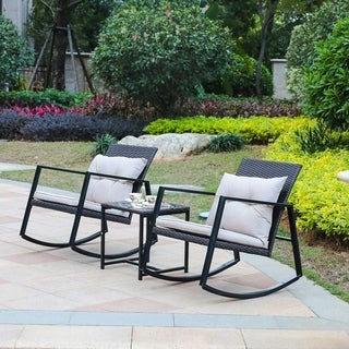 Link to 3pc Iron and Wicker Rocker Conversation Patio Set Similar Items in Patio Furniture