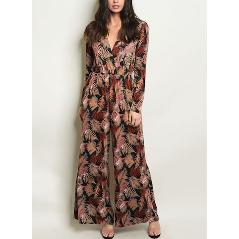 JED Women's Leaf Print Wide Leg Long Sleeve Jumpsuit