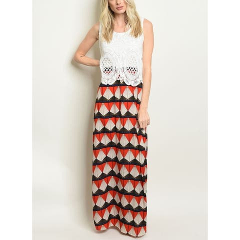 JED Women's Sleeveless Crochet and Prints Maxi Dress