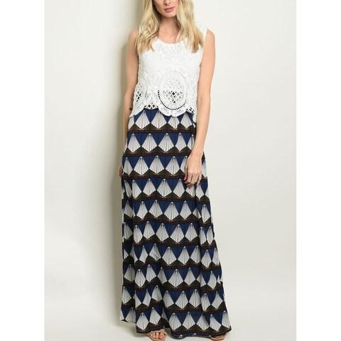 JED Women's Sleeveless Crochet and Prints Maxi Dress