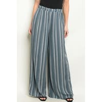 JED Women's Elastic Waist Wide Leg Stripes Palazzo Pants