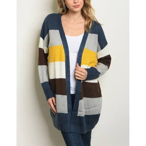 JED Women's Colorblock Chunky Knit Cardigan