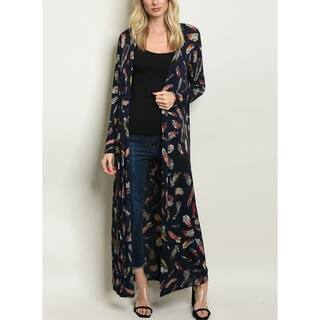 JED Women's Feather Print Long Sleeve Maxi Cardigan