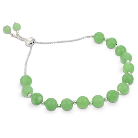 Gems For You Sterling Silver Adjustable Jade Bead Bolo Bracelet