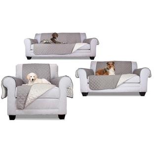 ALEKO Set of Pet Friendly Sofa/Love Seat /Arm Chair Slipcover Furniture Protector Grey