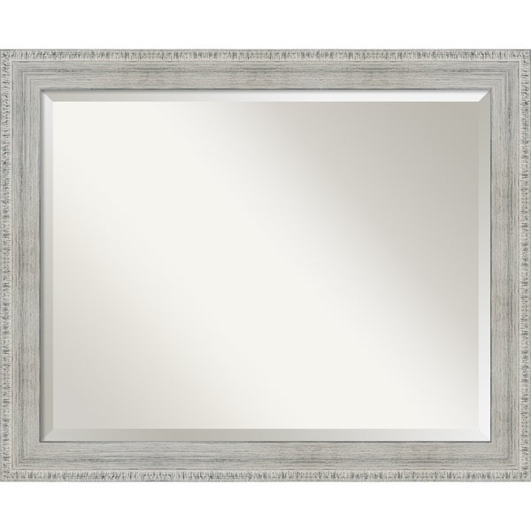 Shop rustic white wash wood wood framed bathroom mirror - White wood framed bathroom mirrors ...