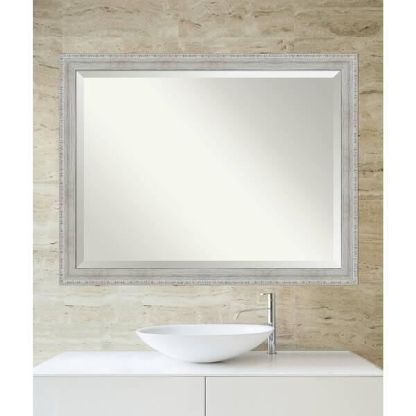 Rustic White Wash Wood Framed Bathroom Mirror On