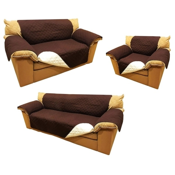 ALEKO Set of Pet Friendly Sofa/Love Seat /Arm Chair Slipcover Furniture Protector Brown