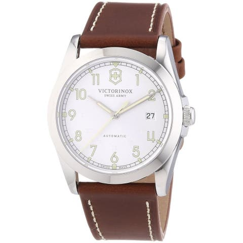 Victorinox Swiss Army Men's 241566 'Infantry' Silver Dial Brown Leather Strap GMT Swiss Automatic Watch