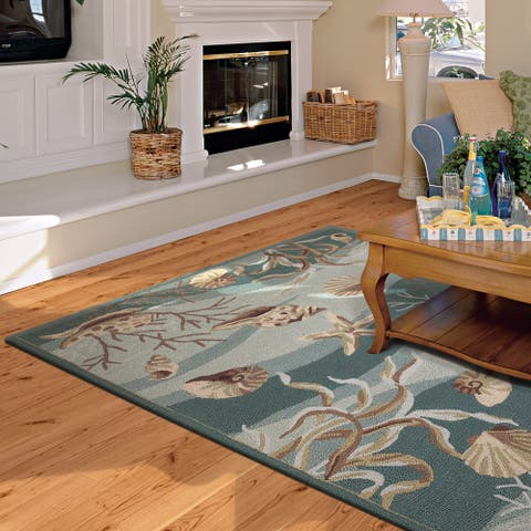 Porch & Den Monson Hand-hooked Sealife Area Rug