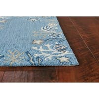 Domani Mohana Sea Blue Nautical Border Area Rug
