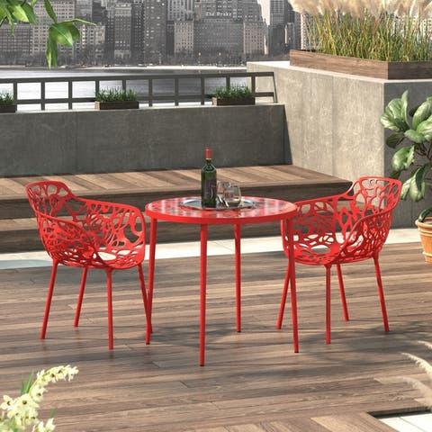 LeisureMod Devon Modern Aluminum Indoor Outdoor Dining Table - 29 x 31.1