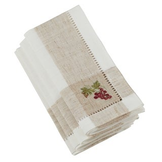 Saro Lifestyle Hemstitch Napkins with Embroidered Grape Design (Set of 4)