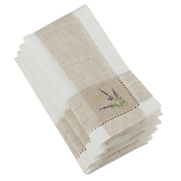 Saro Lifestyle White/Beige Embroidered Lavender Design Hempstitch Table Napkins (Set of 4)
