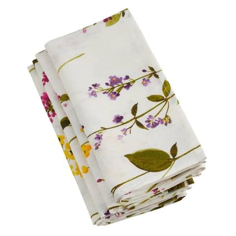 Saro Lifestyle Linen Floral Stem Napkins (Set of 4)