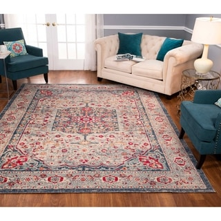 Porch & Den Ford Blue/ Red Low-pile Rug
