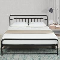 12 Inch All-in- All-in-One Easy Setup Metal Platform Bed w/Steel slats and Headboard Mattress Foundation
