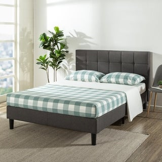 Zoe Upholstered Platform Beds with Tufted Headboard and Wooden Slats Support - Crown Comfort