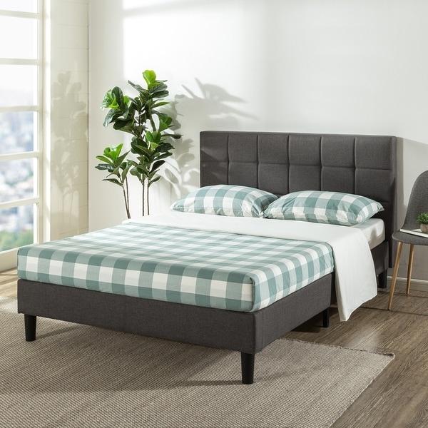Queen Size Platform Bed Frame w//Tufted Headboard Grey Upholstered Beds Wood