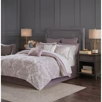 Madison Park Essentials Freda Purple 16 Piece Jacquard Complete Bedding Set with 2 Sheet Sets