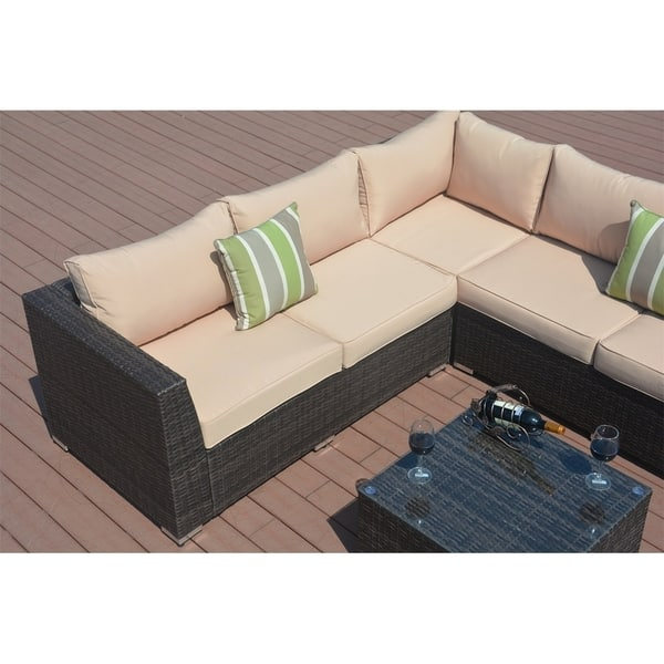 8 Piece Outdoor Patio Furniture Wicker Sectional Sofa
