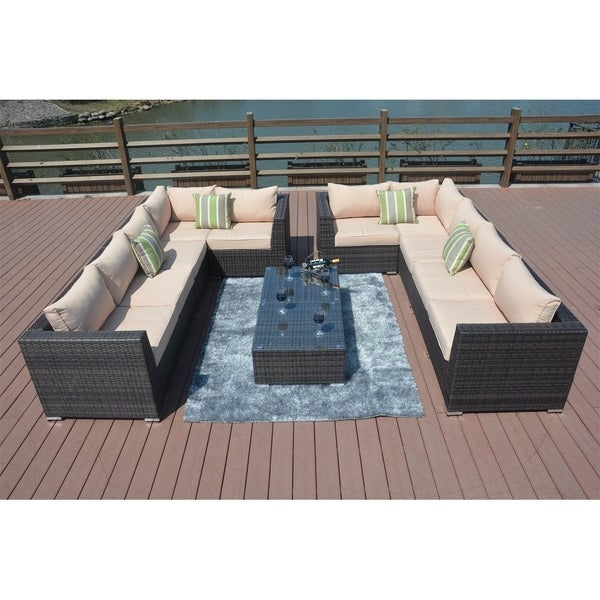 8-piece Outdoor Patio Furniture Wicker Sectional Sofa Set by Moda Furnishings