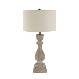 Hillebrand Turned Table Lamp with Linen Shade