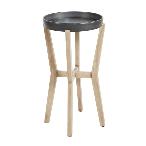 Alex Tall Round Accent Table with Wood Frame