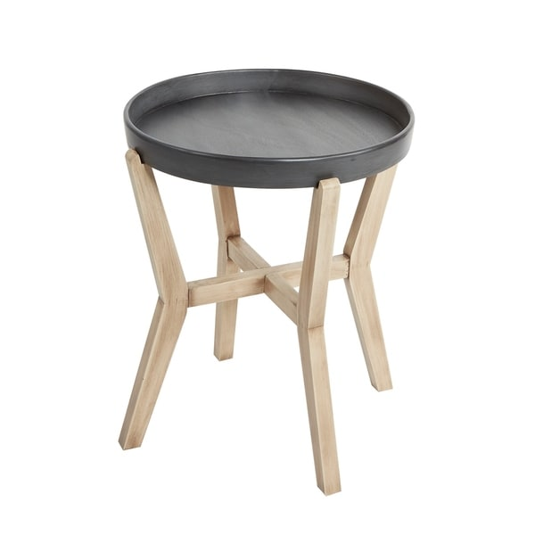 Alex Round Accent Table with Wood Frame