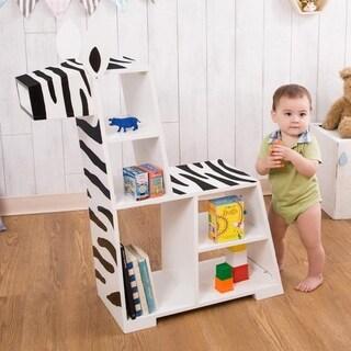 Teamson Kids - Zoo Kingdom Zebra Bookshelf - White / Black